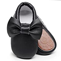 HONGTEYA Baby Moccasins with Rubber Sole - Flower Print PU Leather Tassel Bow Girls Ballet Dress Shoes for Toddler (18-24 Months/US 7/5.51