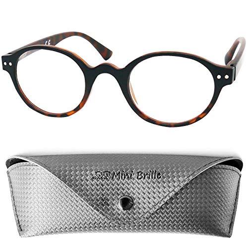 Designer Lesebrille Professorenbrille mit runden ovalen Gläsern - mit GRATIS Brillenetui, Vintage Retro Stil Kunststoff Rahmen (Leopard Braun), Lesehilfe Herren und Damen +2.5 Dioptrien -