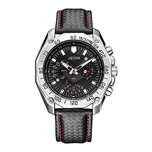 Gute montre bracelet à chronographe pour homme avec cadran noir Affichage analogique et simili cuir Noir Band