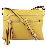 Produp Mode Frauen Handtasche Doppel Reißverschluss Einfarbig Quaste Umhängetaschen Umhängetasche...