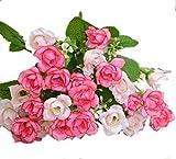 JASNO Kunstblume Kunststoff Künstliche Petite Fleur Rosa 1Bouquet 25Kopf 5Gabel Hochzeit Party Home Garden Decor, Pink