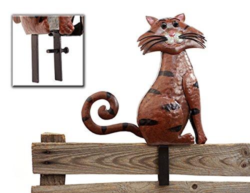 Zaunhocker Katze Zauntier Metall bemalt Gartendeko Höhe ca 24 cm Dekotier