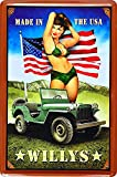 Wise Degree with Pin Up Girl with Jeep Willys Sexy Woman USA Enseigne en Fer-Blanc Affiche Club Restaurant Bar Maison Salon Magasin DšŠcoration