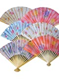 10x Quality Cotton & Wood Pastel Flower Designs Chinese Japanese Oriental Fancy Dress Geisha Decorative Fans 26cm - posted from London by Fat-Catz-copy-catz