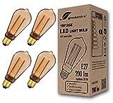 4x greenandco® Vintage Design LED Lampe im Retro Stil zur Stimmungsbeleuchtung E27 ST64 Edison Glühbirne, 4W 200lm 1800K extra warmweiß 300° 230V flimmerfrei, nicht dimmbar 2 Jahre Garantie
