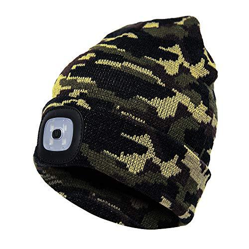 MoonyLI Strickmütze Mit Licht - LED Mütze Hut,Unisex-Winterwärmer-Strickkapp, für Winter Outdoor Sport Ski-Snowboard-Jogging