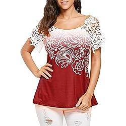 ❤️ camisetas mujer manga corta,Costura del cordón de las mujeres ocasionales que cose la camiseta impresa floral del o-cuello embroma la blusa de las tapas ABsolute (L, Rojo)