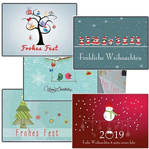 Grußkarten Weihnachten Weihnachtspostkartenset lustig (50 Stück) nostalgisch Vintage modern Winterlandschaft wWihnachtsman ()