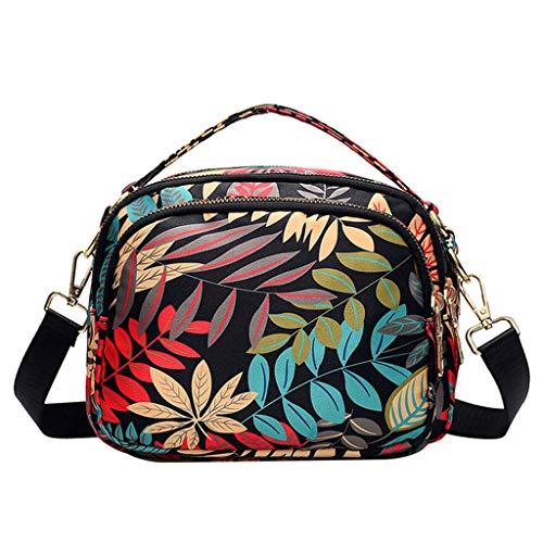 UOWEG Tasche damenmode wasserdicht druck nylon kleine tasche damen ethnischen stil druck umhängetasche umhängetasche (Check Nylon-einkaufstasche)