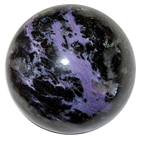 aroit Ball 4,1cm Collectible Rare lila Aurora Schwarz Kugel Krone Chakra Heilstein C03 ()