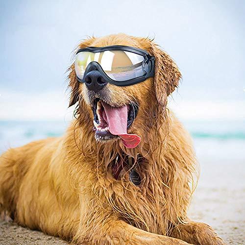 Samtlan Hundebrille, Haustier-Sonnenbrille, UV-Sonnenbrille Wasserdicht Winddicht Augenschutz für Groß/Mittel Hund (Schwarz)
