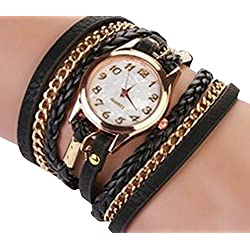 PromiseU Women Synthetic Leather Strap Watch-Black