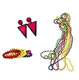 BigLion 80s Accesorios de Disfraz para Fiestas Neón Custome Neón Pendientes de relámpago Collar de Perlas 6 Cuentas y 6 Pulseras con Colores Fluorescentes Cuentas Grandes Conjunto de Accesorios (C1)