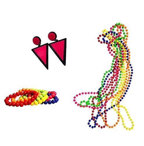BigLion 80er Jahre Party Kleid Zubehör Set Kunststoff Neon Ohrringe Mehrfarbig Perlenkette Perlen Halsketten Fluoreszierende Perlen und Neon Perlen-Armbänder (C1) (1980er Jahre Schmuck)