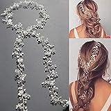 Unicra Wedding Bridal Crystal Capelli lunghi Vines Fasce copricapo da sposa Accessori per capelli per spose e damigelle (oro) (argento)
