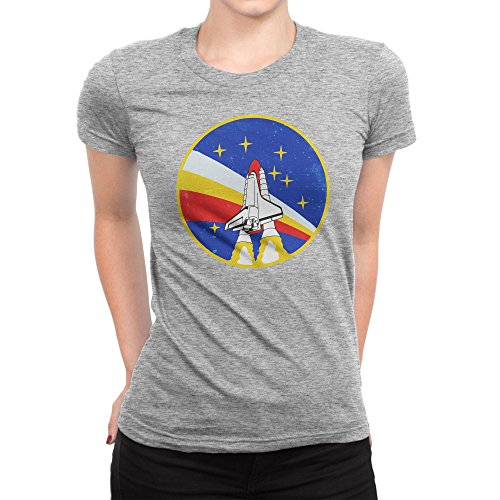 BLAK TEE Vintage Retro NASA Space Badga Patch Damen T-Shirt S (T-shirt Bee Light)