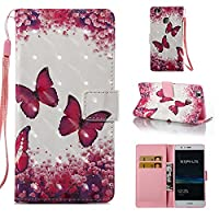 HUAWEI P9 Lite Case, Iddi-Case Fashion Cute Pattern Luxury Pu Leather Wallet Magnetic Design Flip Folio Protective Case Cover with Card Holder - Red Butterfly