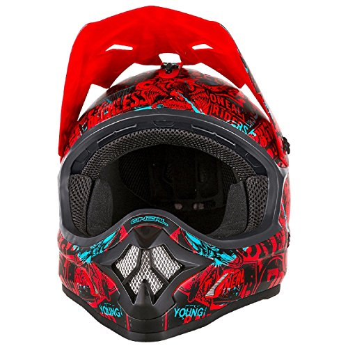 O'Neal 3Series Attack Motocross Helm Schwarz Rot MX Enduro Trail Quad Cross Offroad, 0623-13, Größe M -