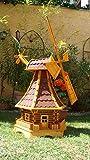 BTV Windmühle 100 cm, wetterfest,robust mit Bitumen, MIT WINDFAHNE Windrad-Seitenruder, Windmühlen Garten, imprägniert + kugelgelagert 1 m groß rot dunkelrot edelrot weinrot