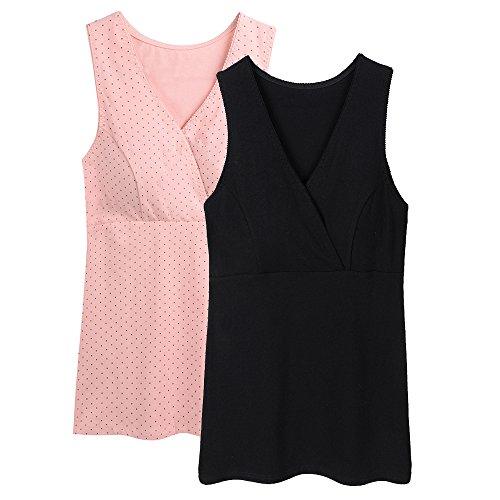 Topwhere Mutterschaft Kleidung Top Baumwolle Schwangerschaftsshirt (M, Rosa Dot+Schwarz)
