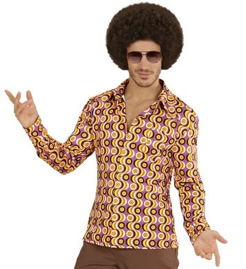 Hemd Siebziger 70er 80er Jahre Verkleidung Herren Schlager Disco Herrenhemd (L/XL, discs lila gelb orange)