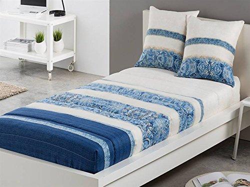 LaNovenaNube - Edredón Ajustable AMBER cama 105 - Color Azul