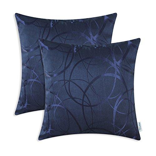 CaliTime Kissenbezüge Kissenhülle Packung mit 2 Dekokissen Cases Schalen für Couch Sofa Home Decor Modern Shining & Dull Contrast Circles Ringe Geometric 45cm x 45cm Navy Blue