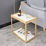 ACZZ Tavolino da salotto, tavolino angolare semplice in ferro battuto, divano letto da salotto, tavolo da tè, tavolo da lettura in legno massello per ufficio, 40 * 28 * 45 cm,B