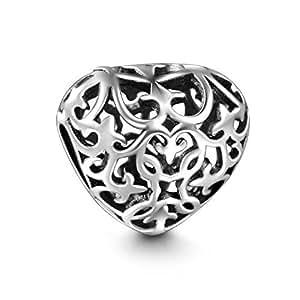 Soufeel 925 Argent Charm Gravure Cœur pour Charmes Colliers Bracelets boucles d'oreilles