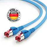 AIXONTEC 10m CAT7 Ethernet LAN Kabel RJ45 Profi Netzwerkkabel Blau | 10 Gigabit | Leoni Cat.7 Megaline F6-90 s f Flex | Hirose TM21 Netzwerkstecker | kompatibel zu CAT.5e / CAT.6 / CAT 7 Kabel