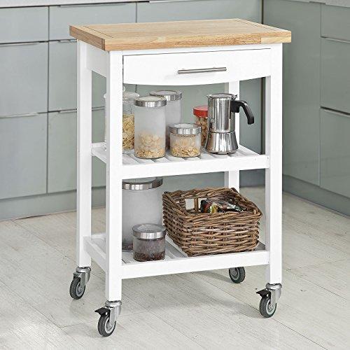 SoBuy® Carrello Scaffale, Carrello di servizio,mobile cucina ,piano in legno