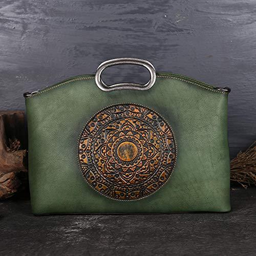 Pamabag Echtes Leder Damen Tasche,Vintage Green Aus Echtem Leder Handtasche Damen Umhängetasche Classic Handmade Totem Geprägte Große Kapazität Taschenmode Schulter Messenger Bag Weibliche Tote (Geprägte Tote Gefüttert)