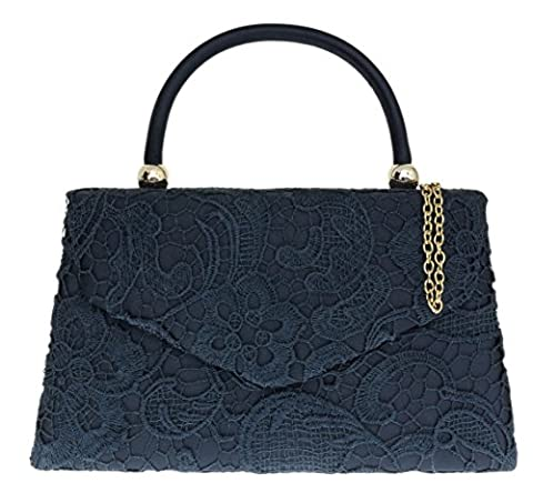 Girly HandBags Lace Satin Top Handle Clutch Bag Handbag Elegant Weeding Party Vintage Party Designer Inspired Womens Fashion -- Navy