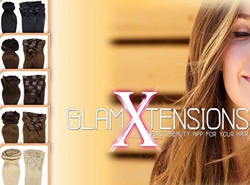 Clip in Extensions Echthaar Schwarz Remy Haarverlängerung für komplette Haare 8 Tressen Doppelt Dicke 45cm-140g-#1 Schwarz