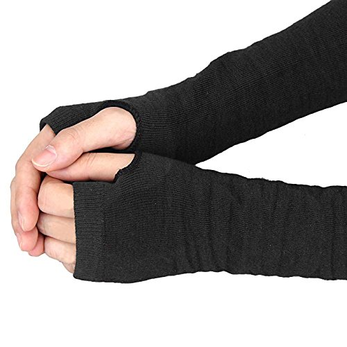 Bold N Elegant Knitted Woollen Thermal Warm and Comfortable Fingerless Gloves Mittens Winter Gloves Accessories Hand Warmer Gloves (Black)