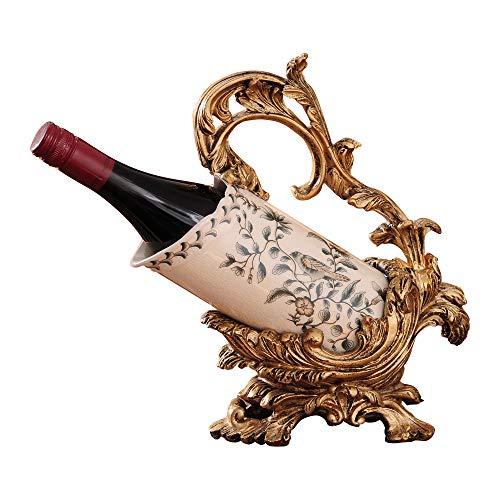 BGTRRYHY Europäischen Stil Keramik Rotweinregal Applique Glasur Brennen Riss Weinhalter Wohnkultur Dekoration Hotel Esszimmer Wohnzimmer Handwerk Lagerregale Weinflaschenhalter-C - Holz-applique Handwerk