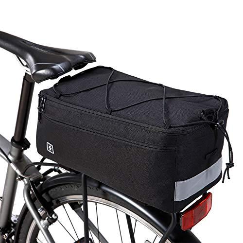 DCCN Borsa Termica Multifunzionale Borsa portabagagli Borsa da Bicicletta 8L Borsa Laterale con Tracolla e parapioggia 37 * 16 * 16cm - Nero