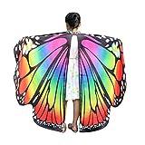 WOZOW Damen Schmetterling Kostüm Fasching Schals Nymphe Pixie Poncho Umhang für Party Cosplay Karneval Fasching (Mehrfarbig 1)