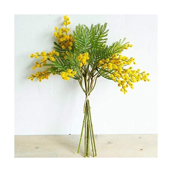 Cranky Orange Flores Artificiales racimos Flocado Acacia Novia celebración Ramo Mullido plástico Helecho Planta Falsa…