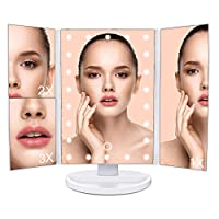 LED Makeup Mirror Foldable Tabletop Mirror with Touch Screen, MLoveBiTi Trifold 1X 2X 3X Magnifying, 180 Degree Rotation for Home Women Girls Beauty