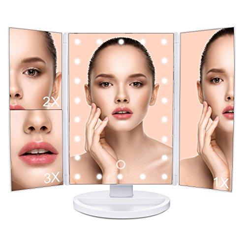 Kosmetikspiegel Tischspiegel Spiegel 22 LED mit Beleuchtung, MLoveBiTi 4 Abschnitt Make up Spiegel ,180° Drehbarer Schminkspiegel, Batteriebetrieben und USB Aufladbar, Weiß Test