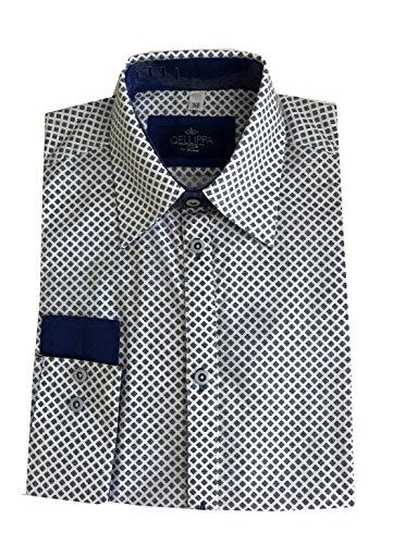 Helgas Modewelt Jungs Hemd Zum Kommunionanzug, Oberhemd Aus Baumwolle, Weiß-Blau, Gr. Slim 140