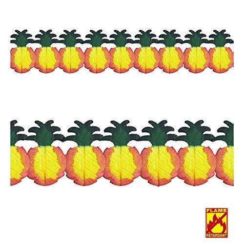 WIDMANN 95736 Girlande Ananas Unisex- Erwachsene Gelb/Grün/Orange Einheitsgröße (Karibik Thema Party Dekorationen)