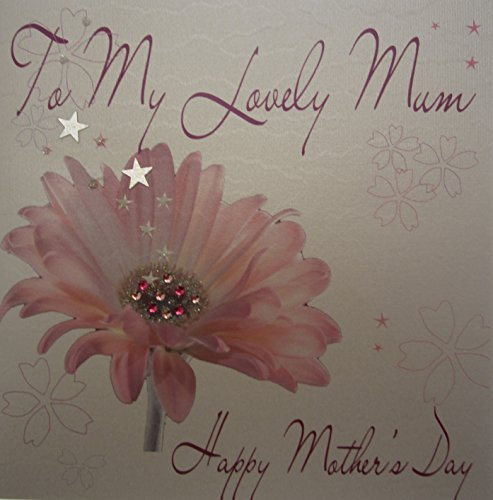 WHITE COTTON CARDS Pink Gerbra To My Lovely Mum Happy Mother's Day Mother's Day, handgefertigt, Weiß