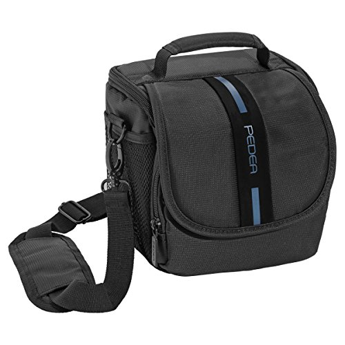 PEDEA SLR-Kameratasche mit Regenschutz und Displayschutz für Sony Alpha 68, SLT-A58K / Panasonic Lumix DMC-FZ1000 / Canon EOS 80D, 800D, 1100D / Pentax K-70, K-S2 / Nikon Coolpix P900 / Fujifilm FINEPIX S1500 (Größe M), blau