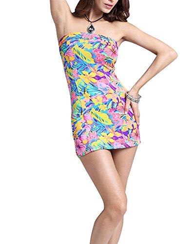SaiDeng Femmes Retro Impression Motif Sans Manches Paquet Hanche Robe Comme Image
