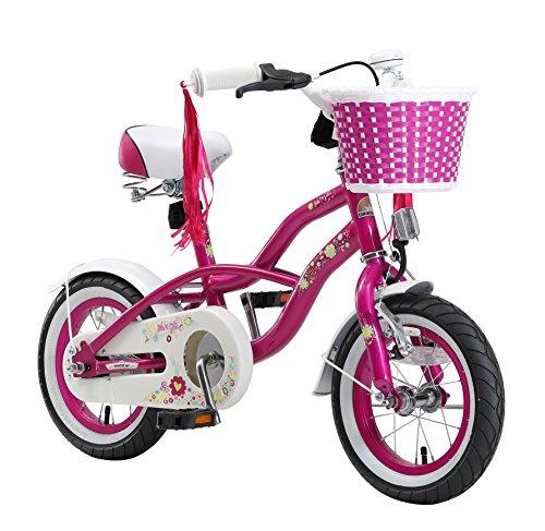 BIKESTAR Premium Sicherheits Kinderfahrrad 12 Zoll für Mädchen ab 3 - 4 Jahre ★ 12er Kinderrad Cruiser ★ Fahrrad für Kinder Violett