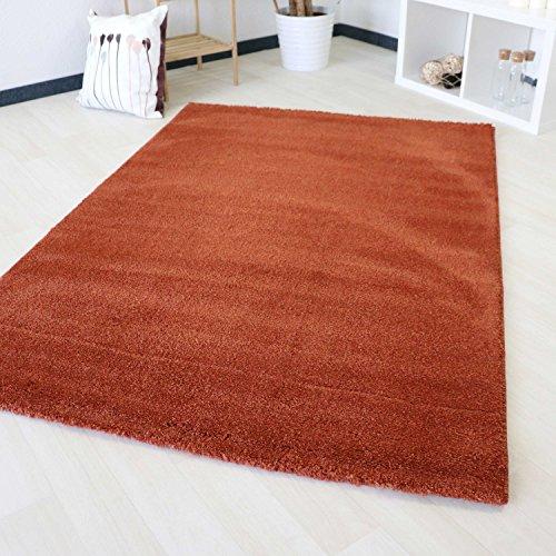 mynes Home Kurzflor Teppich Mix gepunktet Kupfer Orange Farbe Modern Designer Soft mit Öko-Tex in veschiedenen Größen (120 x 170 cm) -