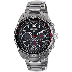 Seiko Men's Quartz Watch with Black Dial Chronograph Display and Silver Stainless Steel Bracelet SSC261P1