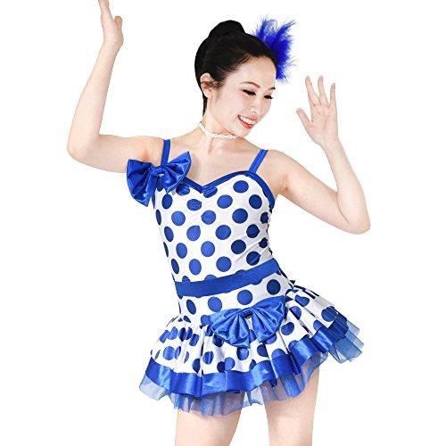 MiDee Schöne Bowknot Hemdchen, Oder So Was Polka Dots Ballett Kleid Tanz Kostüm (Blau/Weiß, SA)